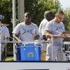 Members of the Mustang Fire Dept. play drums during the Mustang Western Days parade in Mustang, OK, Saturday, September 8, 2012, By Paul Hellstern, The Oklahoman