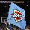 FIRST REGULAR SEASON WIN: The Oklahoma City team flag makes its way across the court in the fourth quarter during the NBA basketball game between the Oklahoma City Thunder and the Minnesota Timberwolves at the Ford Center in Oklahoma City, Sunday, Nov. 2, 2008. The Thunder won, 88-85. BY NATE BILLINGS, THE OKLAHOMAN ORG XMIT: KOD