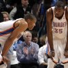 Oklahoma City\'s Russell Westbrook (0) and Kevin Durant (35) react during the NBA basketball game between the Oklahoma City Thunder and the Houston Rockets at the Chesapeake Energy Arena, Tuesday, March 13, 2012. Photo by Sarah Phipps, The Oklahoman.