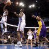 Oklahoma City\'s Reggie Jackson (15) dunks the ball during an NBA basketball game between the Oklahoma City Thunder and the Los Angeles Lakers at Chesapeake Energy Arena in Oklahoma City, Thursday, Feb. 23, 2012. Photo by Bryan Terry, The Oklahoman