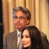 Suspended San Francisco Sheriff Ross Mirkarimi and his wife Eliana Lopez wait for the Board of Supervisors to convene on Tuesday, Oct. 9, 2012, in San Francisco. The Board planned to vote on removing Mirkarimi, who pled guilty to a misdemeanor charge in a domestic violence case, from office. (AP Photo/Noah Berger)