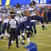 Seattle Seahawks\' Ricardo Lockette (83) and Doug Baldwin celebrate during the second half of the NFL Super Bowl XLVIII football game against the Denver Broncos Sunday, Feb. 2, 2014, in East Rutherford, N.J. (AP Photo/Bill Kostroun)