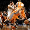 Phoenix Suns\' Sebastian Telfair (31) drives the ball past Brooklyn Nets\' Deron Williams (8) in the first half of an NBA basketball game on Friday, Jan., 11, 2013 at Barclays Center in New York. (AP Photo/Kathy Kmonicek)