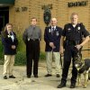 Del City, Wednesday, October 9, 2003. Left to right: Sandy Davison, Captain John Smith, Billy Davison, and K-9 Officer Bradley Rule with police dog Nero. Billy and Sandy Davison are with the Mid-Del Tinker Kennel Club, they gave the Del City Police a knife and bullet proof vest for their police dog. Staff photo by Bryan Terry