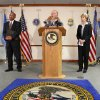 Federal officials announced at a news conference Monday, Sept. 24, 2012, the unsealing of an 81-count federal indictment charging 10 defendants with crimes involving an illegal gambling operation and the money of proceeds derived from that operation. Making the announcement are Sanford C. Coats, at microphone, and Jim Finch, left. Joining the announcement team is Andrea Whelan, right. Finch is special agent in charge of the FBI. Coats is U.S. attorney for the Western District of Oklahoma. Whelan is special agent in charge of IRS Criminal Investigation. Photo by Jim Beckel, The Oklahoman. Jim Beckel - THE OKLAHOMAN