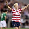 In this Saturday, Dec. 1, 2012 photo, United States\' Megan Rapinoe celebrates her goal against Ireland in an international friendly soccer match in Glendale, Ariz. High-profile lesbian athletes have come out while still playing their sports, but not a single gay male athlete in major U.S. professional sports has done the same. (AP Photo/Paul Connors)