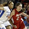 Kentucky\'s Bernisha Pinkett (10) defends Dayton\'s Kelley Austria (22) in the first half of a second-round game in the NCAA women\'s college basketball tournament Tuesday, March 26, 2013, in New York. (AP Photo/Frank Franklin)