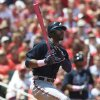 Atlanta Braves\' Jason Heyward watches his three-run double during the third inning of a baseball game against the St. Louis Cardinals on Sunday, May 13, 2012, in St. Louis. (AP Photo/Jeff Curry)