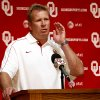 Defensive Coordinator Mike Stoops speaks with the media during the Meet the Sooners event at the University of Oklahoma on Saturday, Aug. 4, 2012, in Norman, Okla. Photo by Steve Sisney, The Oklahoman