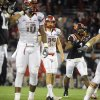 CORRECTS TO BORGESE\'S FIELD GOAL-ATTEMPT NOT FULLER\'S - Virginia Tech cornerbacks Kyle Fuller (17) and Antone Exum (1) look on as Rutgers kicker Nick Borgese (93) and tight ends D.C. Jefferson (10) and Paul Carrezola (89) react while watching Borgese\'s field goal-attempt go wide right in overtime at an NCAA college football Russell Athletic Bowl game on Friday, Dec. 28, 2012, in Orlando, Fla. Virginia Tech won 13-10. (AP Photo/Brian Blanco)