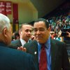 Kelvin Sampson (right) greets Eric Behrman after being introduced as Indiana University\'s new college basketball head coach Wednesday. Sampson is the former University of Oklahoma (OU) coach, and replaces Mike Davis. Several hundred fans also attended the press conference at Assembly Hall. By David Snodgress, Herald-Times.
