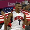 United States\' Russell Westbrook celebrates after the men\'s gold medal basketball game at the 2012 Summer Olympics, Sunday, Aug. 12, 2012, in London. USA won 107-100. (AP Photo/Eric Gay)