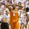 Texas\' Damion James reacts to a foul call in the second half during a loss to Texas A&M 100-82 Monday, Feb. 5, 2007 at Reed Arena in College Station, Texas. (AP Photo/Paul Zoeller) ORG XMIT: TXPZ107