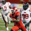 Fresno State\'s Jalen Saunders runs past Mississippi\'s Uriah Grant in the second quarter of an NCAA college football game, Saturday, Oct. 1, 2011, in Fresno, Calif. (AP Photo/Gary Kazanjian)
