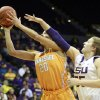 Photo - Tennessee center Isabelle Harrison (20) shoots past LSU forward Theresa Plaisance (55) in the first half of an NCAA college basketball game in Baton Rouge, La., Thursday, Feb. 27, 2014. (AP Photo/Tim Mueller)