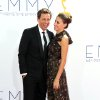 Seth Meyers, left, and Alexi Ashe arrive at the 64th Primetime Emmy Awards at the Nokia Theatre on Sunday, Sept. 23, 2012, in Los Angeles. (Photo by Matt Sayles/Invision/AP)