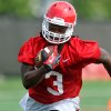 Photo - Georgia running back Todd Gurley carries the ball during NCAA college football practice Friday, Aug. 1, 2014, in Athens, Ga. (AP Photo/Athens Banner-Herald, AJ Reynolds)