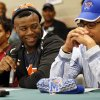 Khari Harding, middle, looks at Phillip Sumpter while speaking during the signing day ceremony at Edmond Santa Fe High School in Edmond, Okla., Wednesday, Feb. 6, 2013. Harding will play football at Auburn. Sumpter has signed to play football at Memphis. At left is Matthew Giudice who will play soccer and run track at Hastings College. Photo by Nate Billings, The Oklahoman
