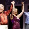 Henry Winkler, left, Alicia Silverstone, center, and Daniel Breaker appear on stage at the curtain call for the opening night performance of the Broadway play,