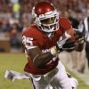 Oklahoma\'s Ryan Broyles (85) leaps for a touchdown past Ball State\'s Brian Jones (29) during the college football game between the University of Oklahoma Sooners (OU) and the Ball State Cardinals at Gaylord Family-Memorial Stadium on Saturday, Oct. 01, 2011, in Norman, Okla. Photo by Bryan Terry, The Oklahoman