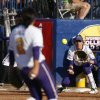 LSU\'s Juliana Santos (2) throws a ball to Dylan Supak (11) during a Women\'s College World Series game between Arizona State and LSU at ASA Hall of Fame Stadium in Oklahoma City, Saturday, June 2, 2012. Photo by Garett Fisbeck, The Oklahoman