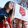 Photo - Jenna Geresi rings a bell at the Salvation Army donation kettle Tuesday at the University of Oklahoma. She and other volunteers from Pi Beta Phi sorority spent the day soliciting donations. PHOTO BY STEVE SISNEY, THE OKLAHOMAN