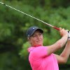 Photo - Suzann Pettersen of Norway, watches her tee shot on the second hole during the third round of the Canadian Women's Open golf tournament in London, Ontario, on Saturday, Aug. 23, 2014. (AP Photo/The Canadian Press, Dave Chidley)