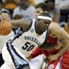 Photo -   Memphis Grizzlies forward Zach Randolph (50) drives against Los Angeles Clippers forward Blake Griffin, right, in the first half of Game 5 of a first-round NBA basketball playoff series, Wednesday, May 9, 2012, in Memphis, Tenn. (AP Photo/Mark Humphrey)