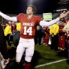 OU\'s Sam Bradford waves to the crowd after the college football game between the University of Oklahoma Sooners and Texas Tech University at Gaylord Family -- Oklahoma Memorial Stadium in Norman, Okla., Saturday, Nov. 22, 2008. BY BRYAN TERRY, THE OKLAHOMAN