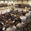 Photo -  Top: Current members of the Oklahoma National Guard and former members of the 45th Infantry (Thunderbird) Division listen to Lt. Gov. Todd Lamb speak Tuesday on the state House floor.  Photos by Paul Hellstern, The Oklahoman  <strong>PAUL HELLSTERN -   </strong>