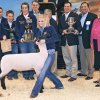 Photo - Charlcey Vinyard poses with her grand champion lamb during the Oklahoma Youth Expo Sale of Champions at State Fair Park. The lamb sold for $22,000 to Touchstone Energy. Behind Vinyard are Cooper Newcomb, Carson Vinyard, McKenzie Clifton, Ted Farris, Bob Newcomb, David Henry, Kevin Cates and Lt.  Gov. Jari Askins. Photo BY JOHN CLANTON, THE OKLAHOMAN