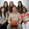 The Oklahoman\'s Super 5 girls high school basketball players and coach: from left, top row, Taylor Cooper of Shawnee, Alie Decker of Edmond Memorial, Kelsee Grovey of Shawnee; bottom row, Lakota Beatty of Anadarko, Coach Mike Barton of Fairview and Courtney Walker of Edmond Santa Fe, photographed at the OPUBCO studio in Oklahoma City, Wednesday, March 28, 2012. Photo by Nate Billings, The Oklahoman