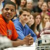 Trayvon Gamble, left, sits with other athletes before the college signing day ceremony for student athletes at Edmond Memorial High School in Edmond, Okla., Wednesday, Feb. 5, 2014. Gamble signed to play football at Langston. Photo by Nate Billings, The Oklahoman