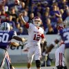 Oklahoma Sooners\' Landry Jones (12) throws the ball during the college football game between the University of Oklahoma Sooners (OU) and the Kansas State University Wildcats (KSU) at Bill Snyder Family Stadium on Saturday, Oct. 29, 2011. in Manhattan, Kan. Photo by Chris Landsberger, The Oklahoman ORG XMIT: KOD