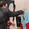 In this photo provided by the Queen Elizabeth Hospital Birmingham, Pakistan\'s President Asif Ali Zardari, left, and his daughter Asifa Bhutto, center back, meet with Malala Yousufzai, where she is undergoing treatment for injuries sustained when a Taliban gunman opened fire on her and her friends outside the Khushal School for Girls in Mingora, Swat Valley, Pakistan, at the Queen Elizabeth Hospital in Birmingham, England, Saturday, Dec. 8, 2012. The Taliban targeted Malala because of her outspoken and relentless objection to the group\'s regressive interpretation of Islam that keeps women at home and bars girls from school. (AP Photo/Queen Elizabeth Hospital Birmingham)