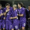Photo - Fiorentina's Josip Ilicic, second from left,  celebrates with teammates after scoring during a Serie A soccer match between Fiorentina and Atalanta  at the Artemio Franchi stadium in Florence, Italy Saturday  Feb. 8  2014. (AP Photo/Fabrizio Giovannozzi)