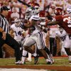 Kansas State\'s John Hubert (33) scores a touchdown past Oklahoma\'s Javon Harris (30) during the college football game between the University of Oklahoma Sooners (OU) and the Kansas State University Wildcats (KSU) at the Gaylord Family-Memorial Stadium on Saturday, Sept. 22, 2012, in Norman, Okla. Photo by Chris Landsberger, The Oklahoman