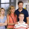 "Photo -  This film image released by Warner Bros. Entertainment shows, from left, Emma Roberts, Jennifer Aniston, Jason Sudeikis, background right, and Will Poulter in a scene from ""We're the Millers."" (AP Photo/Warner Bros. Entertainment, Michael Tackett)"