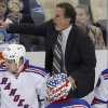 Photo -   New York Rangers coach John Tortorella yells at the Penguins bench after a collision between Rangers' Derek Stepan and Penguins' Brooks Orpik during the third period of an NHL hockey game in Pittsburgh on Thursday, April 5, 2012. The Penguins won 5-2. (AP Photo/Gene J. Puskar)