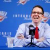 Sam Presti, Oklahoma City Thunder general manager, talks about yesterday\'s player trades at a news conference in the Thunder practice facility, Friday afternoon, Feb. 25, 2011. Photo by Jim Beckel, The Oklahoman