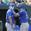 Toronto Blue Jays\' Brett Lawrie, right, celebrates with teammate Melky Cabrera after hitting a solo home run against the Baltimore Orioles in the sixth inning of a baseball game on Sunday, April 13, 2014, in Baltimore. (AP Photo/Gail Burton)