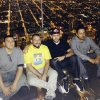 Photo - This Wednesday, May 28, 2014 photo provided by Alejandro Galibay shows Galibay, 23, of Stockton, Calif., second from right, sitting with his brother Ernesto, right, and cousins David Cazares, left, and Antonio Saldana on The Ledge, a popular tourist attraction on the 103rd floor of the Willis Tower in Chicago shortly before the coating protecting the glass bay they were sitting on started to crack. Garibay said Thursday, May 29, he knows now he wasn't in danger but when he first heard what sounded like breaking ice, he thought he was going to die. A statement from the building's management said the coating, which occasionally cracks, does not affect the structural integrity of the transparent ledge. (AP Photo/Alejandro Galibay)