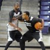 Minnesota Timberwolves\' Derrick Williams is guarded by teammate Corey Brewer during the NBA basketball team\'s training camp Tuesday, Oct. 1, 2013, in Mankato, Minn. (AP Photo/Mankato Free Press, Pat Christman)