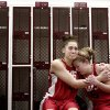 Metro Academy plays Taber Spani, left, and Whitney Schwab console each other in the locker room after losing to the THESA Riders in the National Christian Homeschool 2008 Championship Basketball Game on Saturday, March, 15, 2008, at the Sawyer Center in Oklahoma City, Okla. BY SARAH PHIPPS, THE OKLAHOMAN