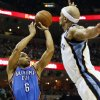 Oklahoma City\'s Derek Fisher (6) takes a 3-point shot against Memphis\' Jerryd Bayless (7) during Game 3 in the second round of the NBA basketball playoffs between the Oklahoma City Thunder and Memphis Grizzles at the FedExForum in Memphis, Tenn., Saturday, May 11, 2013. Photo by Nate Billings, The Oklahoman