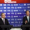 Photo - Manhattan borough president Scott Stringer, left, and former New York Gov. Eliot Spitzer, both Democrats, participate in a primary debate for New York City comptroller in the WCBS-TV studios, Thursday, Aug. 22, 2013, in New York. (AP Photo/Frank Franklin II, Pool)
