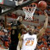 OSU\'s James Anderson goes to the basket past Misouri\'s Leo Lyons during the Big 12 college basketball game between Oklahoma State and Missouri at Gallagher-Iba Arena in Stillwater, Okla., Wednesday, Jan. 21, 2009. PHOTO BY BRYAN TERRY, THE OKLAHOMAN