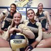 Photo - Southmoore senior volleyball players Micayla Payne, Carly Fuget, Brianna Ruby and Amy Serowski pose on Wednesday, Oct. 16, 2013 in Moore, Okla.  Photo by Steve Sisney, The Oklahoman  STEVE SISNEY - THE OKLAHOMAN