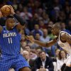 Oklahoma City\'s Serge Ibaka (9) defends Orlando\'s Glen Davis (11) during the NBA basketball game between the Oklahoma City Thunder and the Orlando Magic at the Chesapeake Energy Arena, Sunday, Dec. 15, 2013. Photo by Sarah Phipps, The Oklahoman