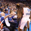 Leola Boyd meets Rumble the Bison at the OKC Thunder\'s home opener on Friday, Nov. 2 in Chesapeake Energy Arena in Oklahoma City, Okla. A generous, anonymous Thunder fan provided Leola courtside seats for the game. Here\'s the story from the evening from Berry Tramel.